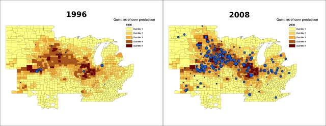 Ethanol and corn production, 1996 & 2008