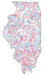 A color-coded map of major waterways in Illinois. Red rivers are impaired, and blue ones meet their water quality standard.